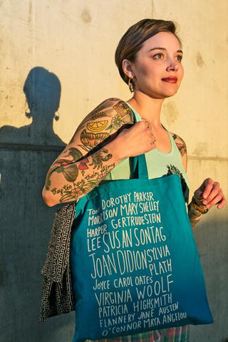 Toni Morrison Dorothy Parker Mary Shelley... Badass Book Club Tote in Turquoise Blue