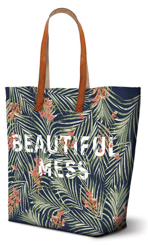 Beautiful Mess Leatherette Tote Bag in Floral