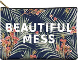 Beautiful Mess Palm Leaves Cute/Cool/Unique Large/Jumbo Zipper Pouch/Bag/Clutch/Cosmetic Bag