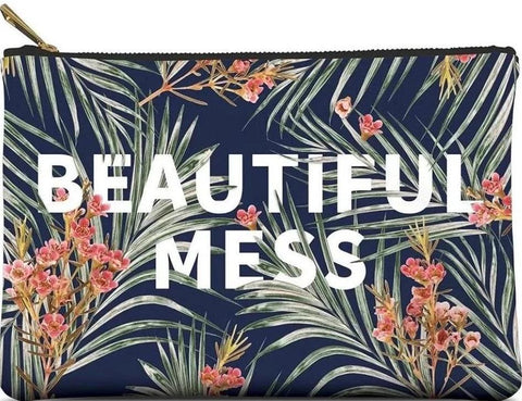 Beautiful Mess Large Zippered Pouch in Palm Leaves