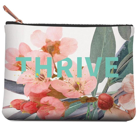Thrive Medium Zippered Pouch in Floral