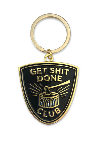 Get Shit Done Club Keychain in Black and Gold