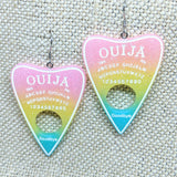Ouija Resin Planchette Earrings in Pastel Colors
