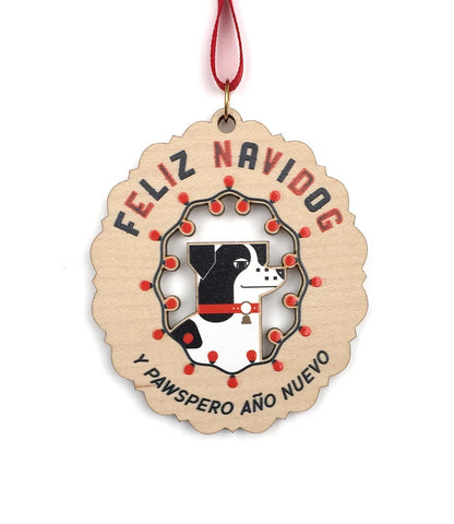 Feliz Navidog Decorative Ornament in Wood
