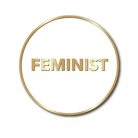 Feminist Enamel Pin in White and Gold