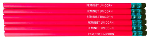 Feminist Unicorn Pencils in Neon Pink