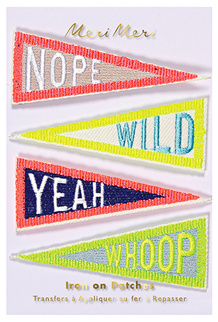 Iron On Flag Patches Pack of 4 in Neon Colors