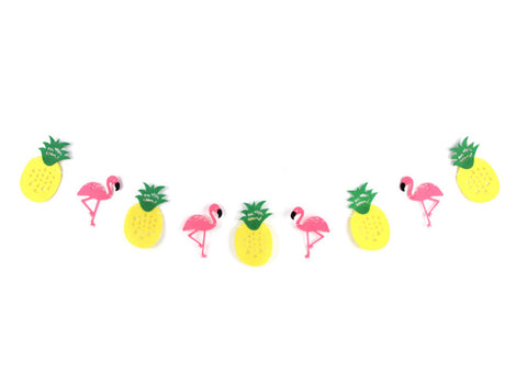 Flamingo and Pineapple Felt Party Banner Bunting