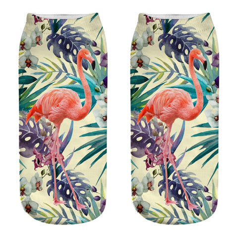 Blue Tropics Flamingo Ankle Socks