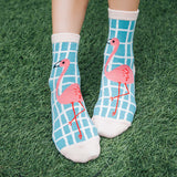 On the Grid Flamingo Women's Socks