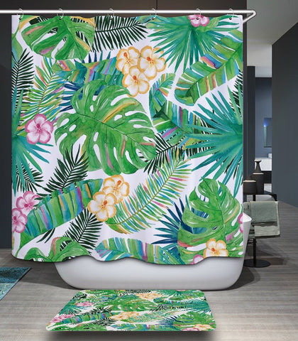 It's a Jungle in Here Fabric Shower Curtain in Palm Leaves