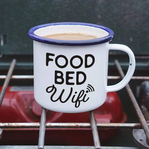 Food Bed Wifi Enamel Camping Coffee Mug in Black and White with Blue Rolled Rim
