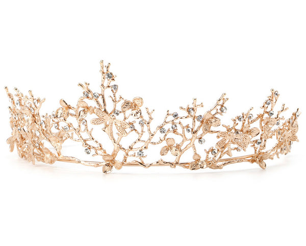 Supreme Queen of the Golden Woods Business Tiara in Gold with Glittering Rhinestones