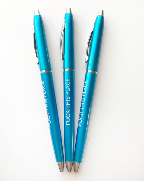 Fuck This Place Pen Set in Turquoise | Set of 3 Funny Sweary Profanity Ballpoint Pens