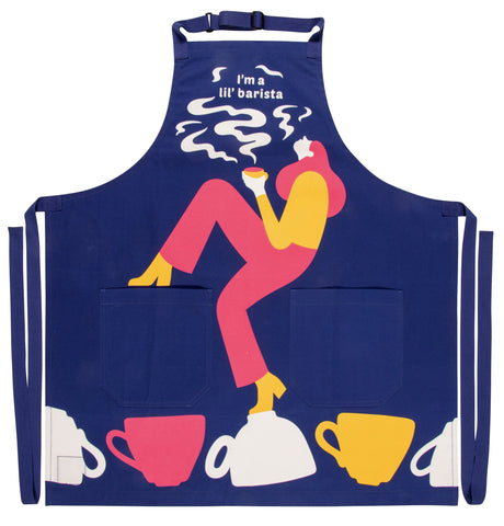 I'm A Lil' Barista Apron in Blue Retro Funny / Cute / Cool Apron with Pockets BBQ /Grill / Cooking Country Novelty Cute Old Fashioned Apron