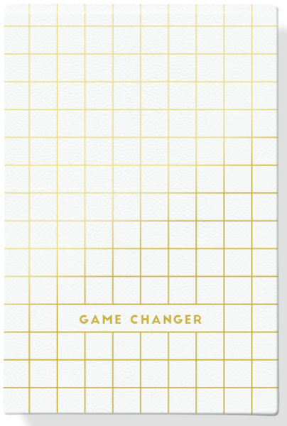 Game Changer Notepad in Gold and White Faux Leather