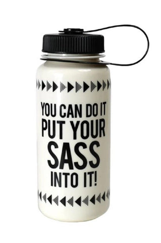 You Can Do It Put Your Sass Into It Mini Tumbler in Black and White