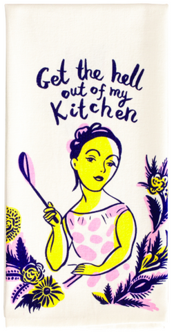 Get the Hell Out of My Kitchen Screen-Printed Pink Multicolored Funny Sweary / Snarky Dish Cloth Towel / Novelty Silly Tea Towels / Cute Hilarious Unique Kitchen Hand Towel