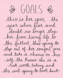 Goals Wall Art by Dayna Lee in Pink and White
