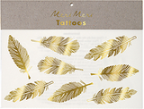 Gold and Neon Feather Temporary Tattoos