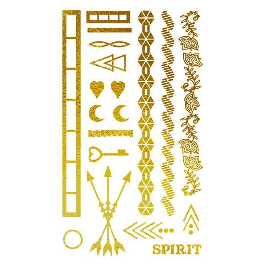 Gold Metallic Summer Bling Temporary Tattoo Collection