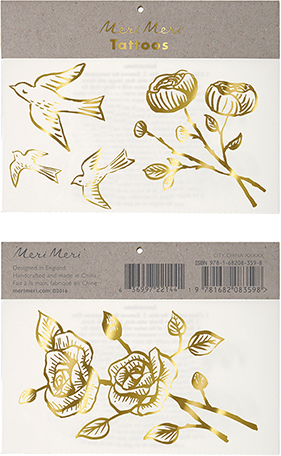 Golden Rose Temporary Tattoos in Metallic