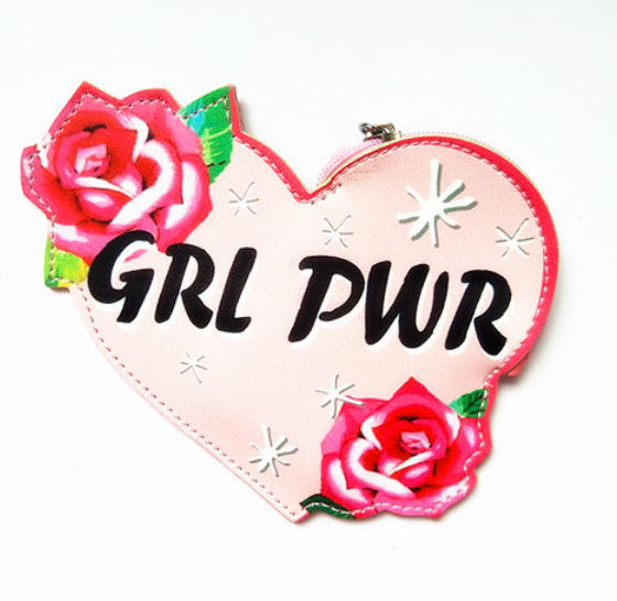 GRL PWR Girl Power Pink Floral Keyring Cute Cool Small/Mini Zip Coin/Change Purse/Bag/Pouch/Wallet