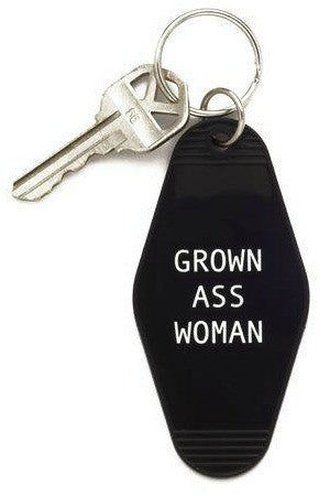 Grown Ass Woman Black Motel Style Keychain