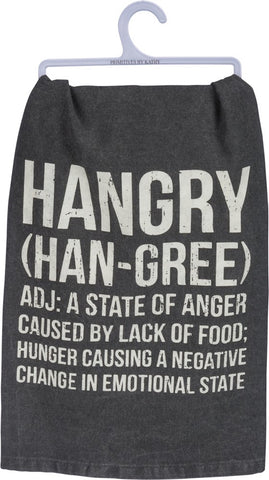 Hangry (Han Gree) Funny Snarky Dish Cloth Towel / Novelty Silly Tea Towels / Cute Hilarious Farmhouse Kitchen Hand Towel