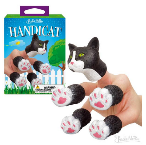 Handicat Kitty Finger Puppet in Black and White