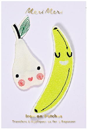 Happy Fruit Iron On Patches in Pear and Banana 2 Pack