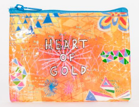 Heart of Gold Coin Purse in Orange and Blue