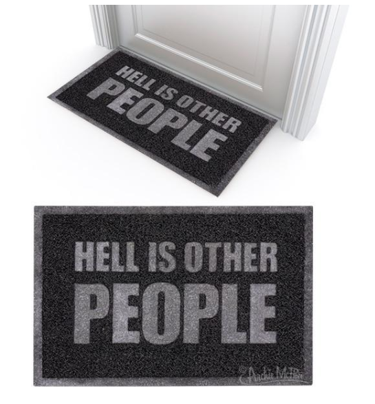 Hell is Other People Existential Misery Welcome Mat in Black