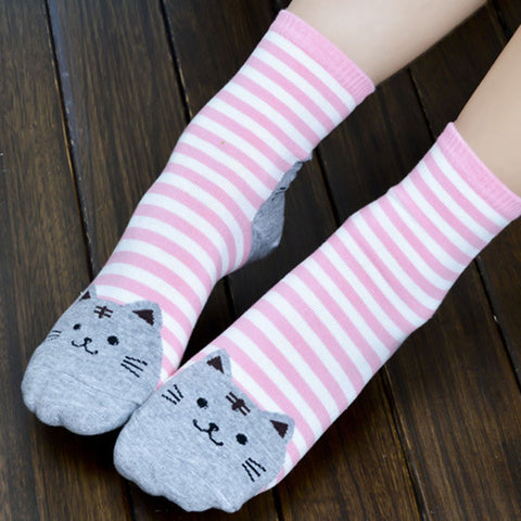 Cat Face Stripe Cat Socks | Cat Faces on Toe and Heel