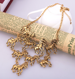 F*ck Yeah Horses Statement Necklace in Gold