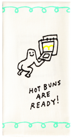 Hot Buns are Ready Screen-Printed Funny Snarky Dish Cloth Towel / Novelty Silly Tea Towels / Cute Hilarious Unique Kitchen Hand Towel