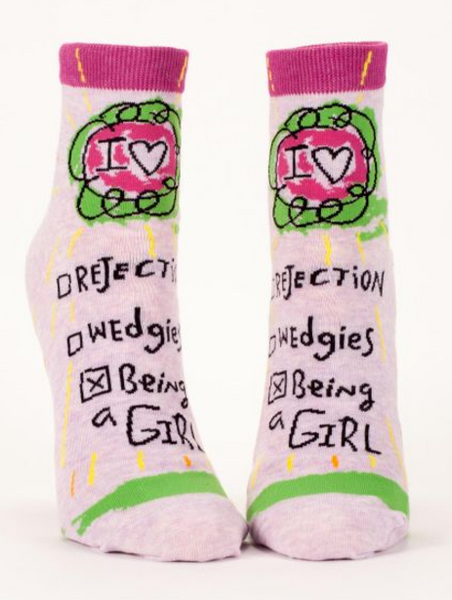 Being a Girl Women's Funky Ankle Socks Teen/Nerdy/Geeky/Trendy, Pink Specialty/Novelty Socks with Cool Design, Bold/Crazy/Unique Dress Half Socks