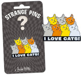 I Love Cats Enamel Pin on Gift Card