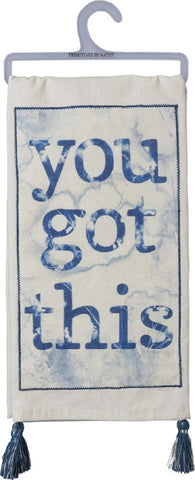 You Got This Tassel Dish Towel in White and Blue