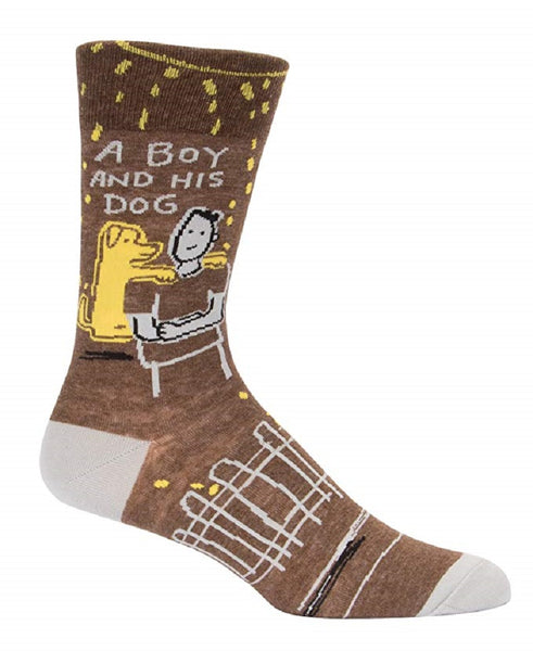 A Boy And His Dog Men's Crew Socks, Hipster/Nerdy/Geeky/Trendy, Funny Novelty Socks with Cool Design, Bold/Crazy/Unique Specialty Dress Socks