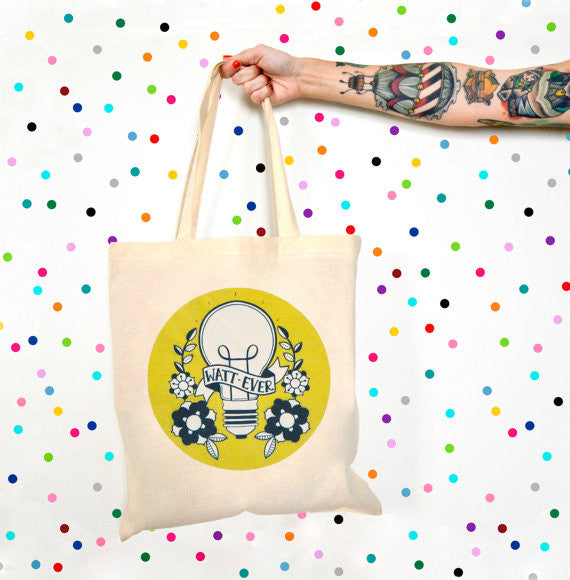 Watt-ever Lightbulb Canvas Tote Bag in Goldenrod