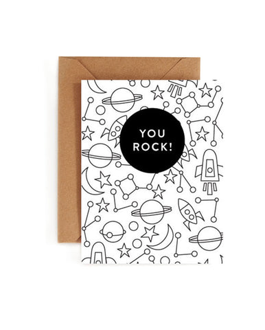 You Rock Coloring Book Card - Blank Inside