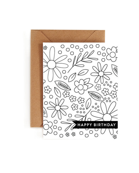 Happy Birthday Coloring Book Card