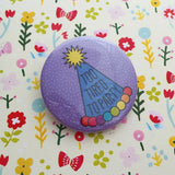 Too Tired to Party Button Badge in Purple Dot