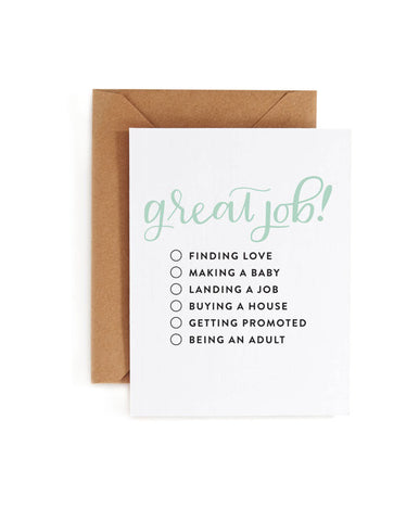 Great Job! Multiple Choice Greeting Card - Blank Inside