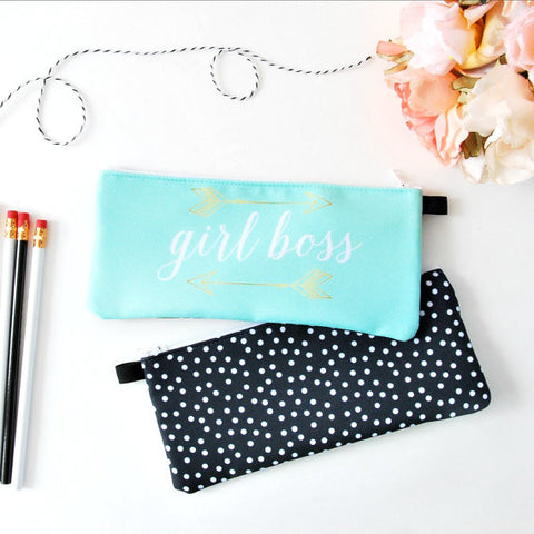 Girl Boss Pencil Case Pouch in Aqua with Gold Arrows
