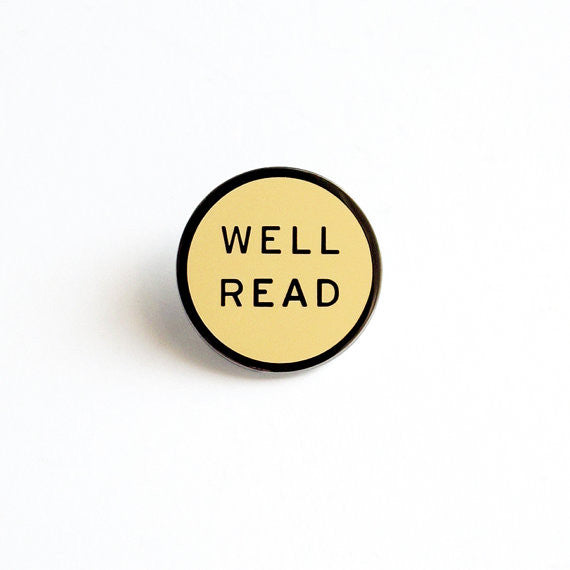 Well Read Enamel Pin in Cream and Gunmetal