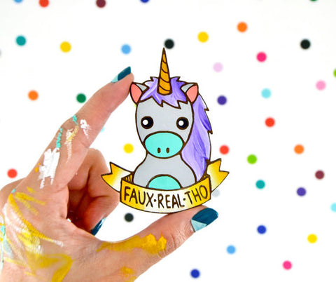 Faux Real Tho Pastel Unicorn Large Statement Brooch