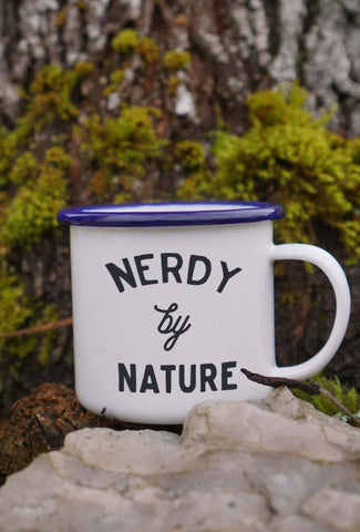 Nerdy by Nature Enamel Camping Coffee Mug in Blue and White