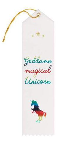 Magical Unicorn Award Ribbon in White and Rainbow